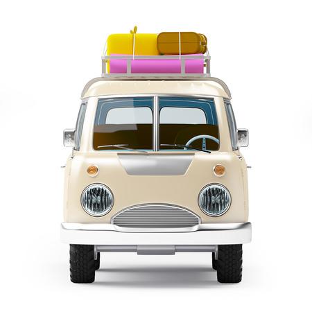 bagagli: retrò van safari con portapacchi in stile cartoon isolato su bianco, vista frontale