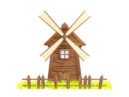 molino: Molino de viento de la historieta con una cerca de la flacidez y la hierba. Fondo blanco Foto de archivo