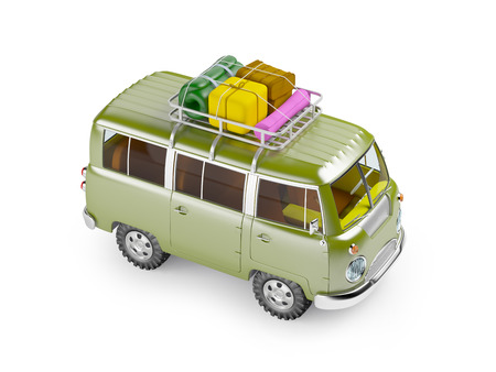 rack: retro safari van with roof rack in cartoon style isolated on white