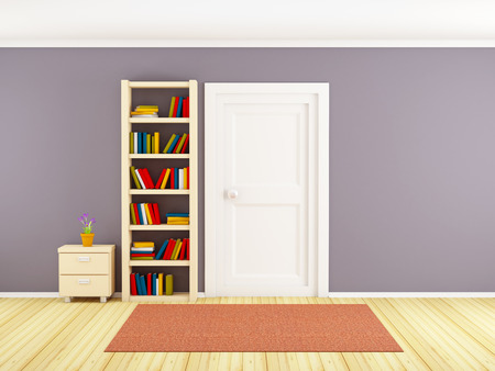 child room: child room, wall with bookcase door, and nightstand. Carpet on wooden floor. Stock Photo