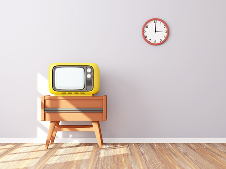 living room wall: room with retro tv and clock on the background wall