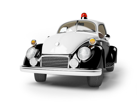 front of: retro police car isolated on white in cartoon style Stock Photo