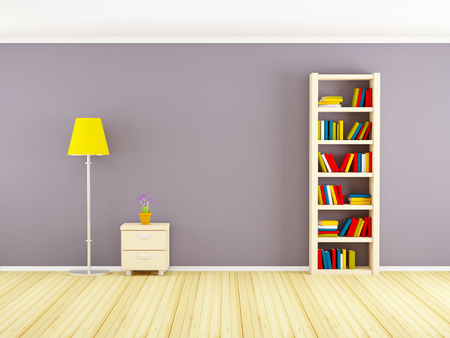 plant stand: wall with bookcase, nightstand and lamp. 3d illustration