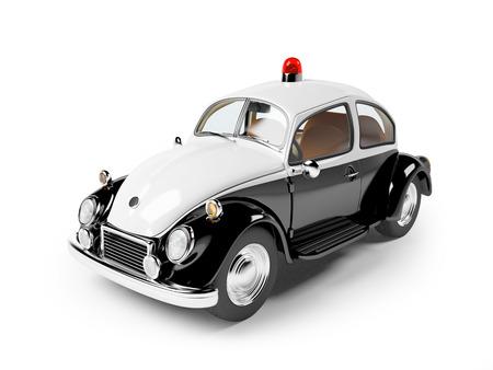 retro politie auto geïsoleerd op wit in de cartoon-stijl