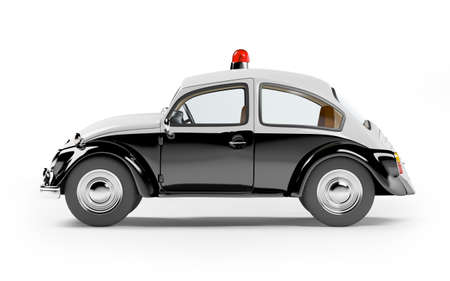 front view: retro police car side view isolated on white in cartoon style