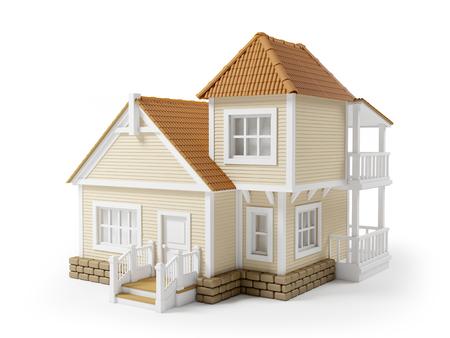 Viktorianisch Cartoon-Familie Haus isoliert auf weiß Standard-Bild - 54175256