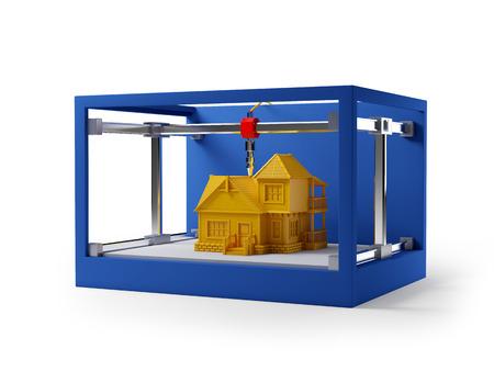 imprenta: 3d impresión de la casa. 3d ilustración esquemática.