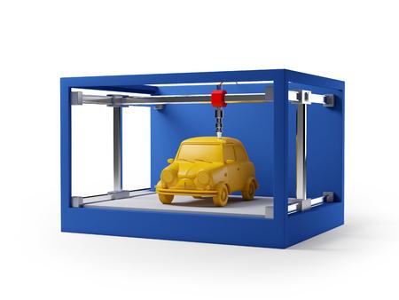 차를 인쇄하는 3D 프린터는 흰색에 고립