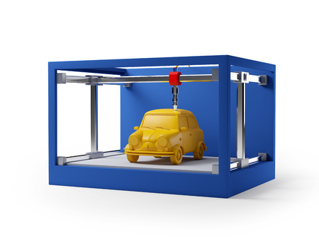3d printer printing a car isolated on white Banco de Imagens - 56526626