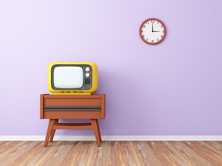 retro tv: room with retro tv and clock on the background wall. 3d illustration