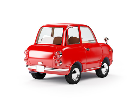 60s: retro car red in 60s style isolated on a white background. Back view. 3d illustration