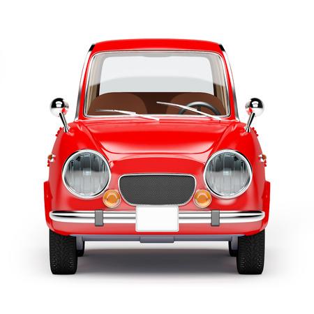 レトロな車が 60 年代に赤白背景に分離したスタイル。正面から見た図。3 d イラストレーション