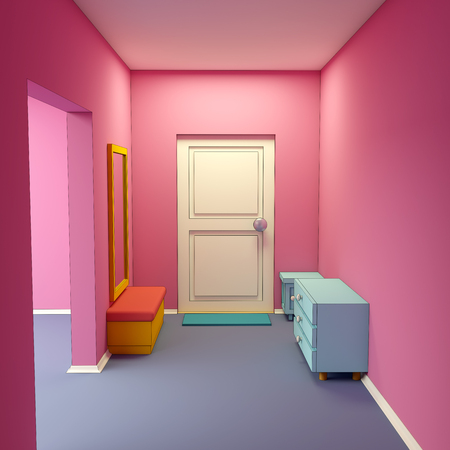 cartoon entrance to hallway indoor in child style. 3d illustration
