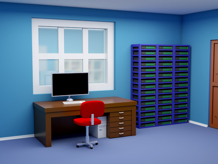 office chairs: room of system administrator in cartoon style. 3d illustration.