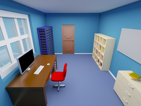 administrator: room of system administrator in cartoon style. 3d illustration.