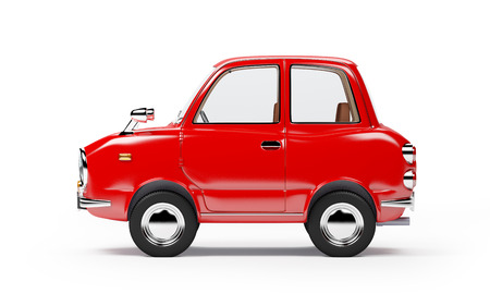 60s: retro car red side view in 60s style isolated on a white background. 3d illustration.