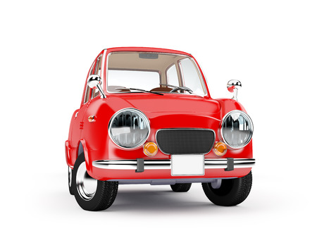 60's: retro car red in 60s style isolated on a white background. 3d illustration
