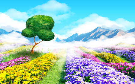 herbage: Fantasy floral cartoon 3d landscape. Colorful field of flowers, a tree and a light haze. 3d illustration