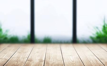 wood room: wooden floor with blurred window. Meditation background, 3d illustration