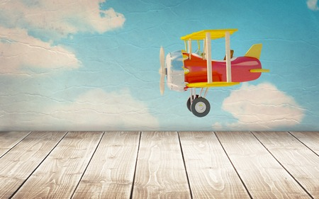 blue wall: wooden floor with vintage airplane at the wall. 3d illustration