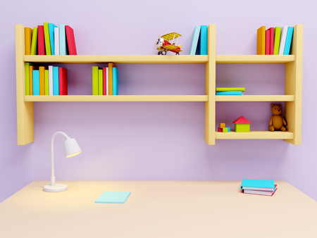 young schoolchild: School desk with lamp and book shelves. 3d illustration
