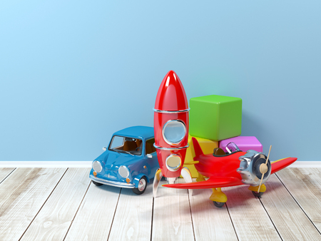 nursery room: Toys on the floor on a background at wall. 3d illustration