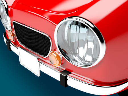 front view: retro car red in 60s style. Front close up view. 3d illustration