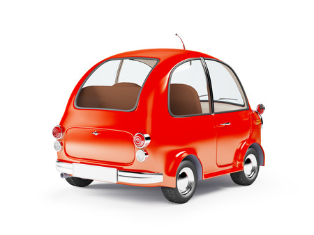 small car: round small car in retro style isolated on a white background. 3d illustration.