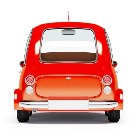 juguetes antiguos: redondo pequeño coche vista posterior en estilo retro aislado en un fondo blanco. Ilustración 3D. Foto de archivo