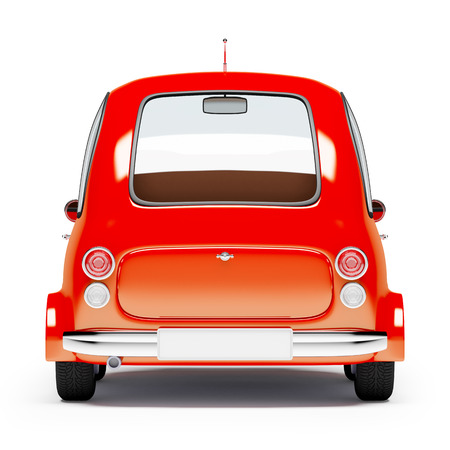 rear view: round small car back view in retro style isolated on a white background. 3d illustration.