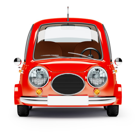 front view: round small car front view in retro style isolated on a white background. 3d illustration. Stock Photo