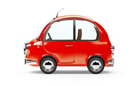 round kleine auto zijaanzicht in retro-stijl op een witte achtergrond. 3D-afbeelding.