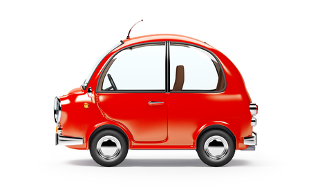 car side view: round small car side view in retro style isolated on a white background. 3d illustration.