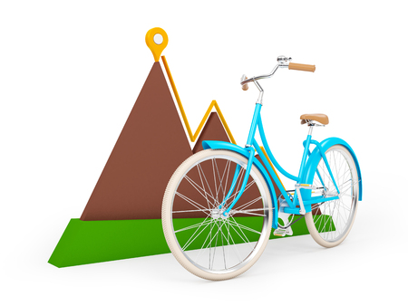bicycle with sign of map pointer and mountain isolation on white. 3d illustration. Stock Photo