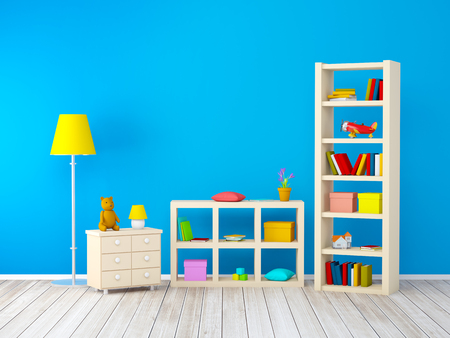room wall: kids room with bookcases with toys at the blue wall. 3d illustration