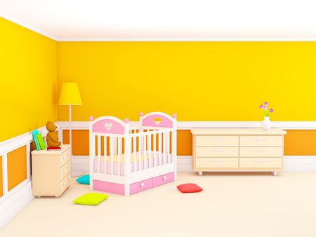 Orange babys bedroom with crib, in classic style. 3d illustration.