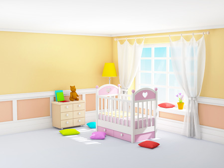 Beige babys bedroom with crib, in classic style. 3d illustration. 스톡 콘텐츠