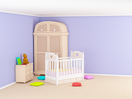 Babys bedroom with commode and cabinet. 3d illustration