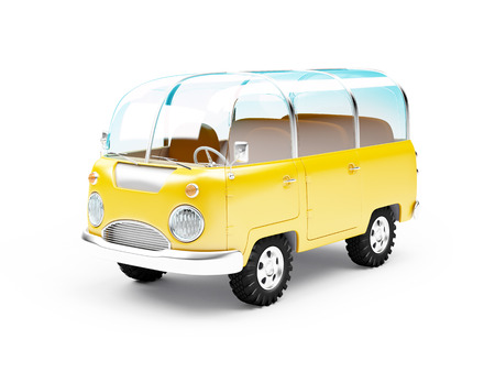 safari van with glass roof in cartoon style isolated on white. 3d illustration