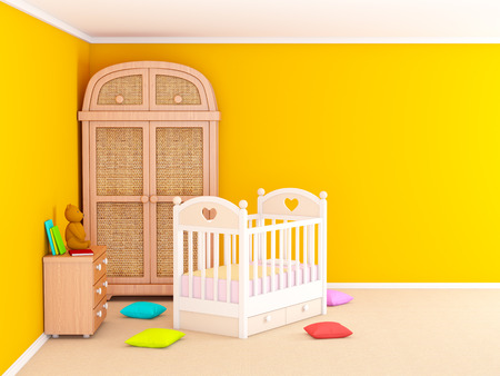 serene people: Babys bedroom with commode and cabinet. 3d illustration