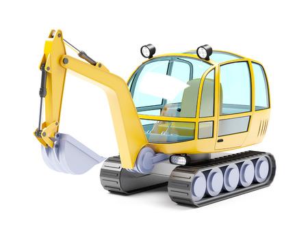 power shovel: Cartoon excavator isolated on white. 3d illustration