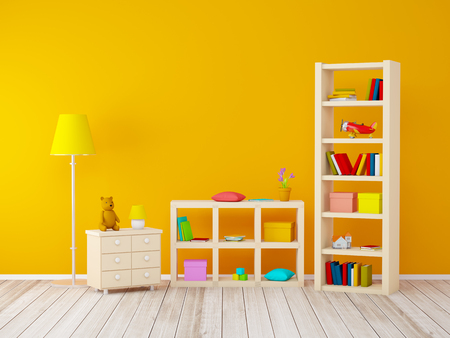 kids room with bookcases with toys at the orange wall. 3d illustration Archivio Fotografico