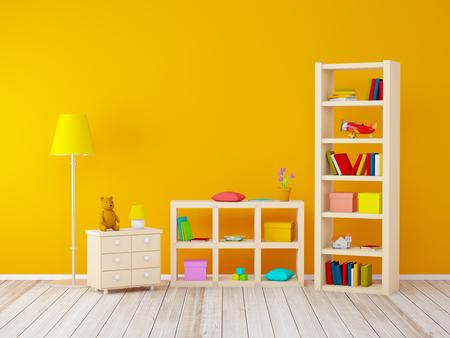 kinderkamer met boekenkasten met speelgoed aan de oranje muur. 3d illustratie