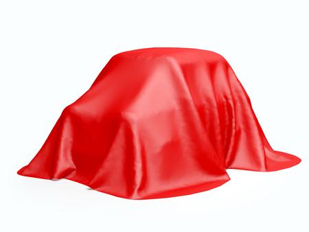 rétro voiture sous le tissu isolé sur blanc. 3d illustration Banque d'images