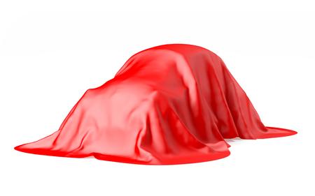 retro car under the tissue isolated on white. 3d illustration
