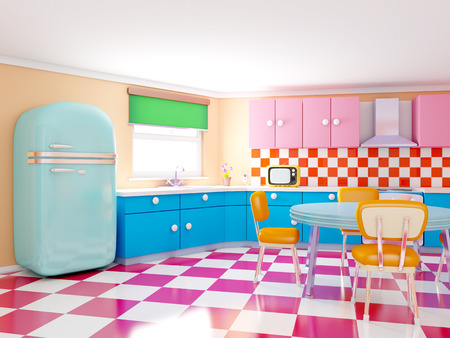 Retro kitchen in cartoon style with checkered floor. 3d illustration. Фото со стока