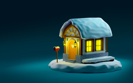 Christmas fairy house with night lights on dark background. 3d illustration.