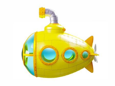 Vista laterale del sottomarino giallo di cartone animato isolato su bianco. Illustrazione 3d