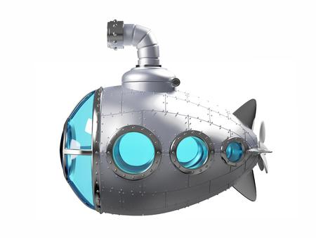 cartoon metallic submarine side Stock Photo