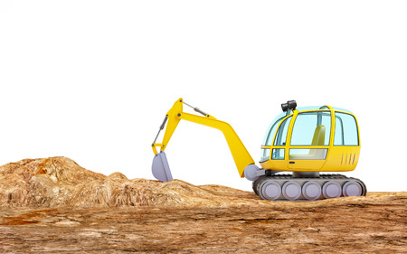 cartoon excavator digging earth